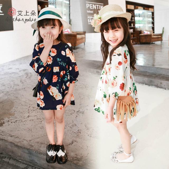 Meninas Vestido de primavera Verão 2016 Vestido Da Menina de Flor Do Bebê Vestidos de Manga longa Crianças moda Vestidos Do Partido Dos Miúdos Da Princesa Roupas