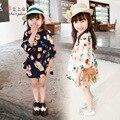 Niñas Vestido de primavera Verano 2016 Vestido de La Flor Del Bebé Vestidos de Manga larga Vestidos de Princesa Partido de Los Cabritos Niños de la manera Ropa