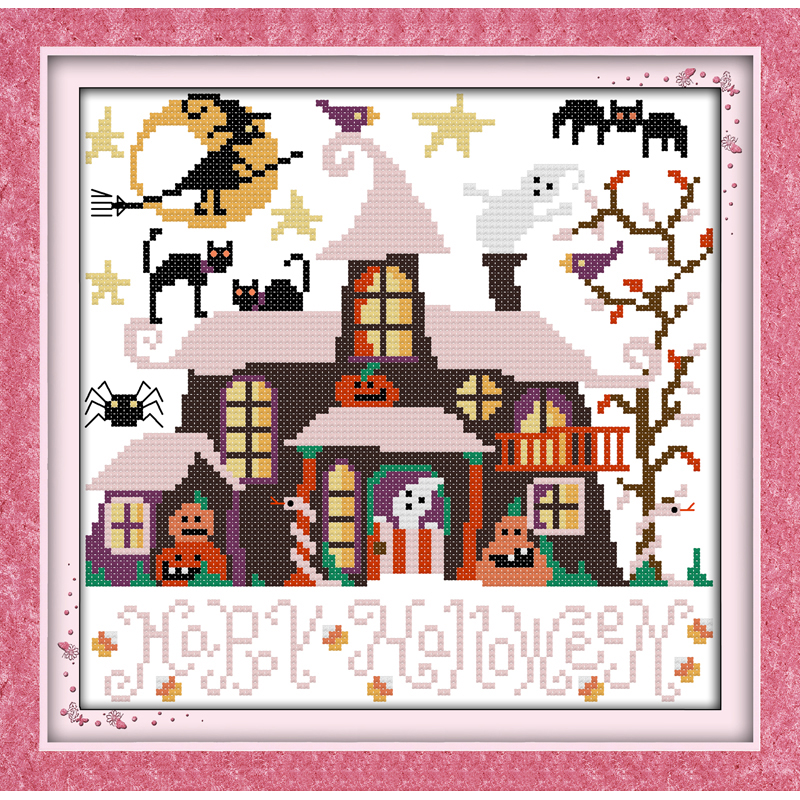 Everlasting Love Halloween Cabin  Chinese Cross Stitch Kits  Ecological Cotton Stamped 11CT DIY Gift Wedding Decoration For Home