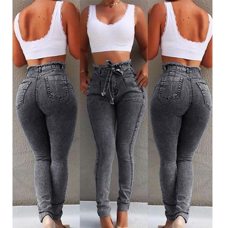 Women Jeans Slim Stretch Denim High Waist Jean Female Tassel Pencil Pant Ankle-Length Slim Trouser