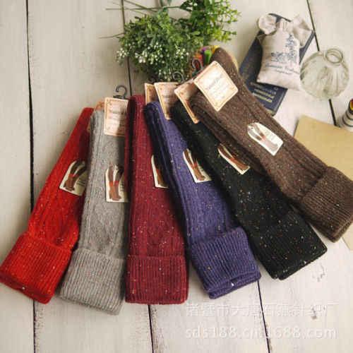 Neue Mode Winter Warm Dicken Strumpf Mädchen Damen Frauen Oberschenkel Hoch ÜBER den KNIE Socken Lange Wolle Strümpfe