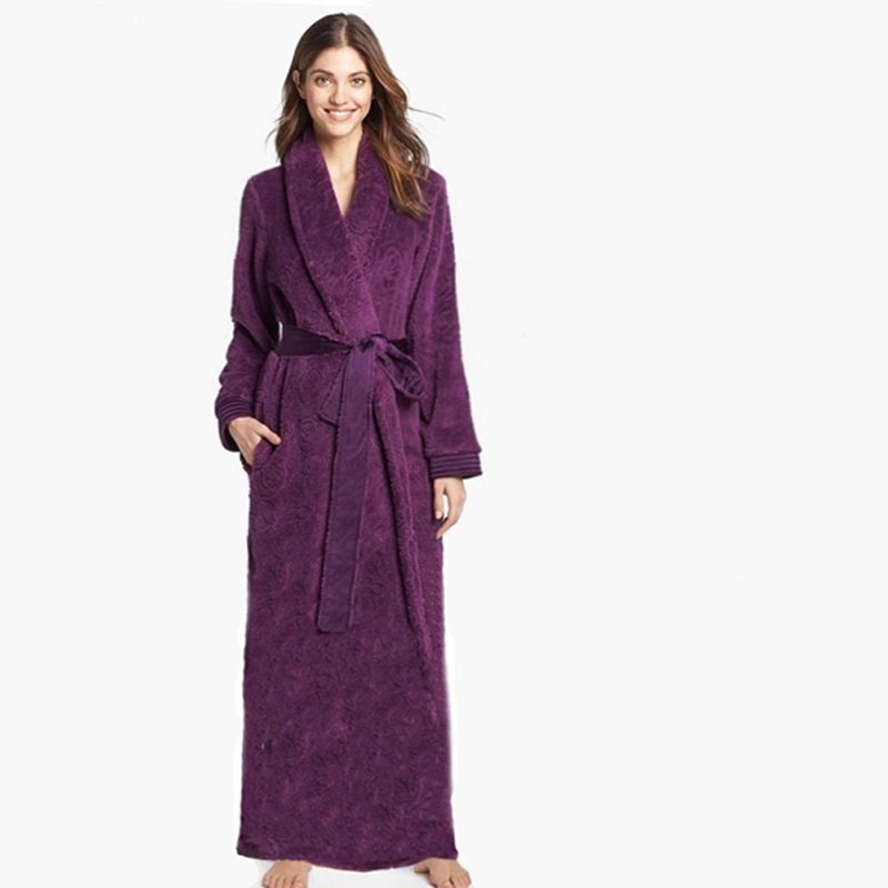 bfc5560d6e Women Ultra Long Ultra Thick Carved Velvet Fur Big Size Full Length Robe  Bathrobe Sleepwear Lounge Robe nightgown nightwear-in Robes from Underwear  ...