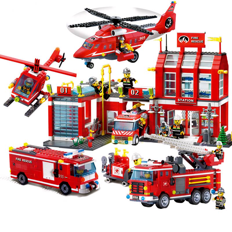 Compatible with <font><b>Legoinglys</b></font> <font><b>City</b></font> Police <font><b>Fire</b></font> <font><b>Station</b></font> Truck Spray Water Firemen Car Building Blocks Sets Bricks Kids Toys image