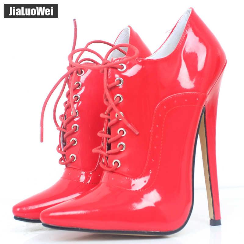 """Kadınlar için 18 cm/7 """"Aşırı Yüksek Topuk Seksi Fetiş Sivri Burun stiletto Ayakkabı dantel-up Oxfords Deri ofis Kariyer parti Lady Pompaları"""