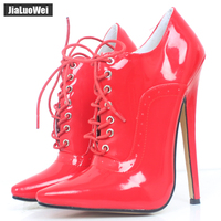 Women 18cm/7 Extreme High Heel Sexy Fetish Pointed Toe stiletto Shoes Lace up Oxfords Leather Office Career party Lady Pumps