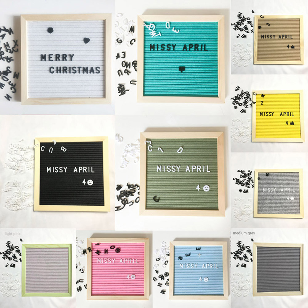 Beautiful Felt Letter Board Wooden Frame Changeable Symbols Numbers Characters Message Boards For Home Office Decorative Boards