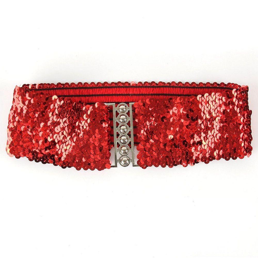 Women Sequin Elastic Waist Belt Stretch Buckle Belt Dress Skirts Decoration Accessories Black Red Gold Silver