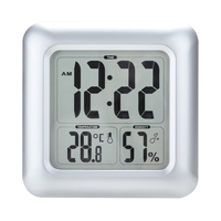 LCD Display Bathroom Large Screen Clock Square Shower Hygrometer Thermometer Waterproof