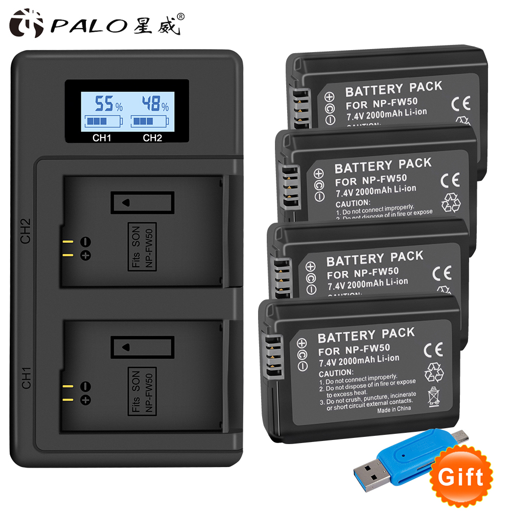 4 pc NP-FW50 NP FW50 FW50 Batterie + LCD USB Double Chargeur pour Sony A6000 5100 a3000 a35 A55 a7s II alpha 55 alpha 7 A72 A7R Nex7 NE