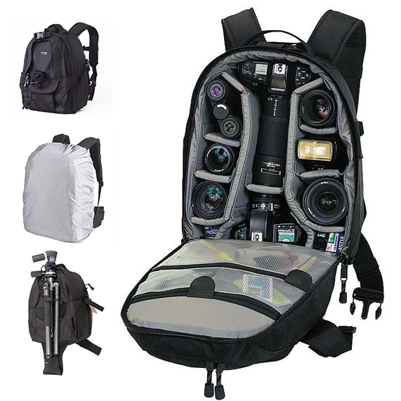 TREKGEAR Mini Trekker AW Photo DSLR Camera Bag Digital SLR travel Backpack With All Weather Cover For Nikon Canon lowepro protactic 450 aw backpack rain professional slr for two cameras bag shoulder camera bag dslr 15 inch laptop