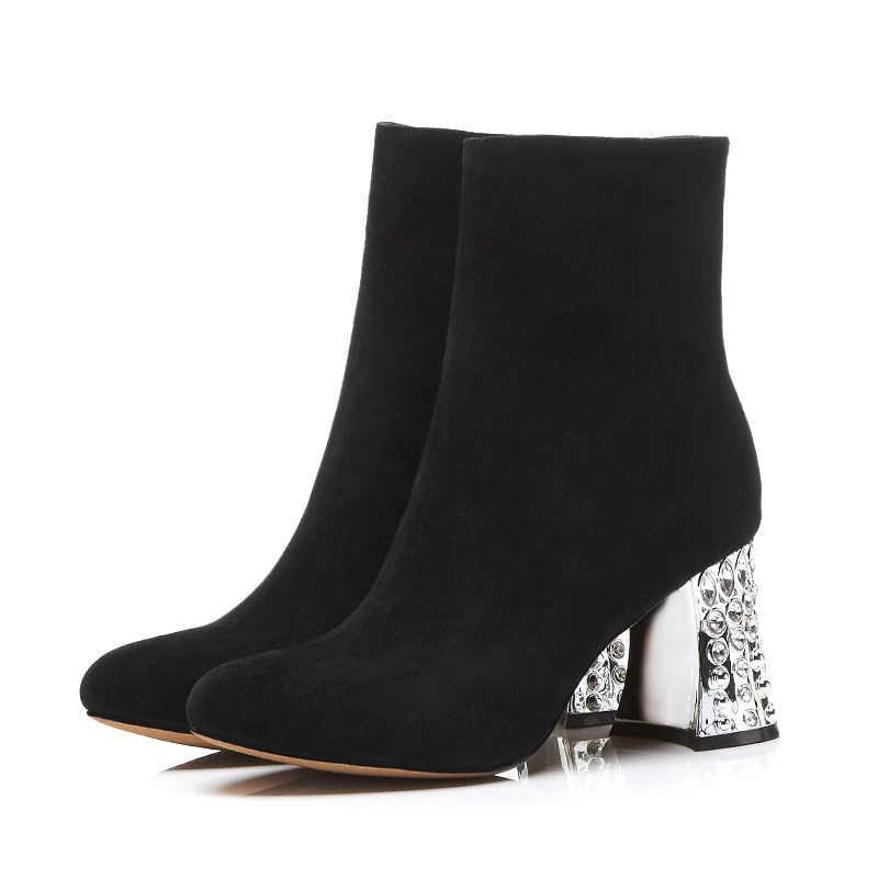 Marka Tasarım Yüksek Garip Kristal Topuk yarım çizmeler Yan Fermuar Doğal Deri kauçuk ayakkabı Kadın Kışlık Botlar 2018 Yeni Varış