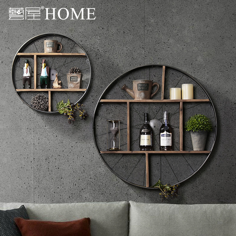 Vintage Industrial Solid Iron Rack Home Furnishing Decorative Mural
