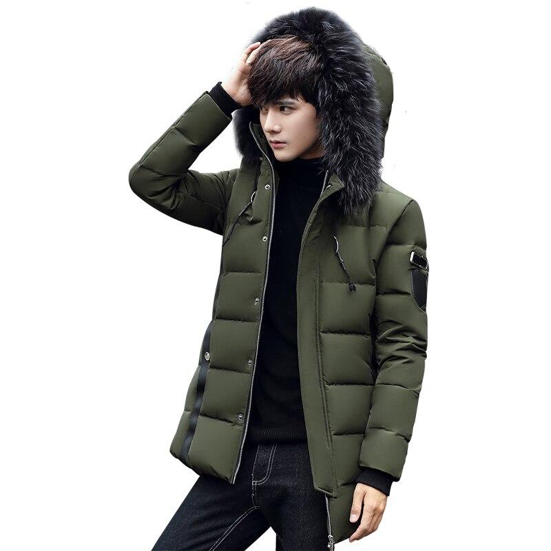 New Winter   Parka   long Jacket Men Fashion Design Brand   Parka   Men Thick Warm Fur Collar Hooded   Parka   Zipper Coat Asian Size