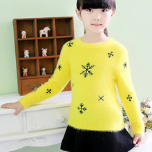 2014 new winter children's sweaters,girls Mohair sweaters Bottoming sweater,kids casual Snowflake pattern warm Pullover sweater