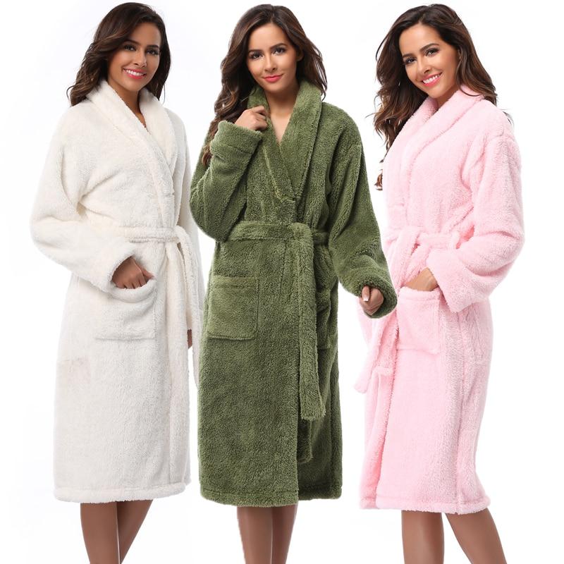Winter Warm Women Robes 2018 Coral Fleece Sleepwear Long Robe Woman Hotel  Spa Plush Bathrobe Solid Nightgown Kimono Pijama e15bac6a3