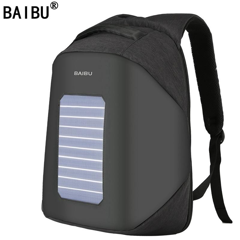 BAIBU Men Backpack 10W Solar Powered Designer Backpack Usb Charging Anti Theft 15 6 Laptop Backpack