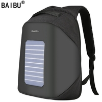 BAIBU Men Backpack 10W Solar Powered Designer Backpack Usb Charging Anti Theft 15.6'' Laptop Backpack women Waterproof Bags