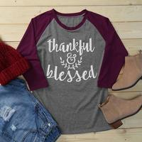 2017 Autumn T Shirt Women Thankful Blessed Print O Neck 3 4 Raglan Sleeve Grey T