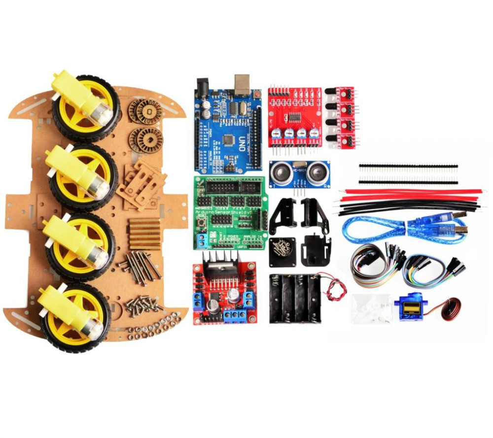 Nouveau moteur de suivi d'évitement Robot intelligent Kit de châssis de voiture encodeur de vitesse boîte de batterie 4WD module à ultrasons pour kit arduino