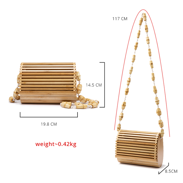 REALER Bamboo bag high quality designer Wood fashion crossbody shoulder bag women summer 2019 beach flap ladies messenger bag