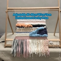 Hand Looms Diy Woven Tapestry Can Be Disassembled Lifting Beech Large Frame Knitting Machine with Smooth Surface Beech 89*87cm