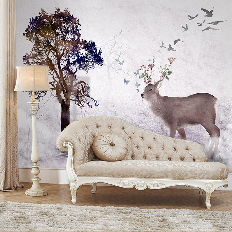 Large Wall Murals Wall paper Non-woven Wallpapers Elk Living Room Children Room Background Wallpaper Mural Costom Any Size english wallpaper roll for baby room lovely hand painted wallpapers children wall paper mural non woven wallpapers for boy room