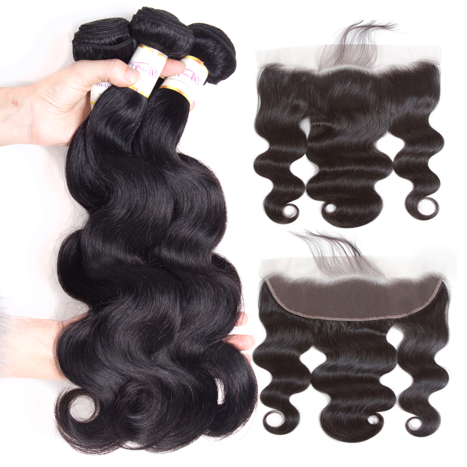 Beauty Grace Bundles With Frontal 3 Bundle Non Remy Frontal Closure Peruvian Body Wave Human Hair