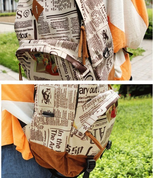Fashion PU Leather Student School Bag Newspaper Style Men Women Backpack Unisex Lovers Cool Back Pack Schoolbag Bagpack 2016 New