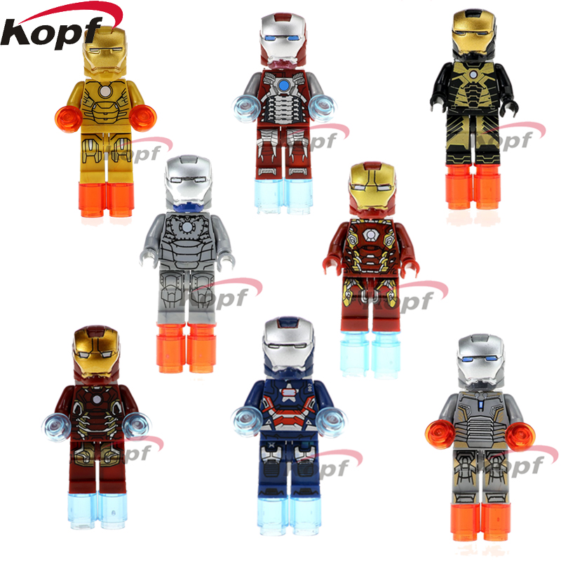 Single Sale Super Heroes Iron Man Patriot Ironman Mark 21 5 41 2 45 40 43 Bricks Building Blocks Children Gift Toys XH 027-034