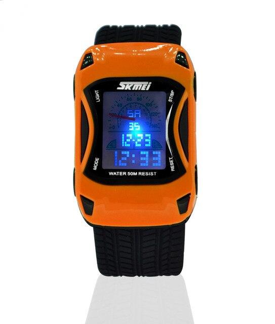 08169b35cff Moda Crianças Relógios Estilo Do Carro Dos Desenhos Animados LED Digital  Watch Jelly Silicone 50 m