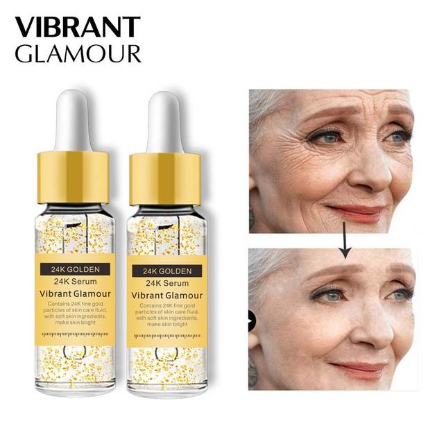VIBRANT GLAMOUR 24K Gold Face Serum Anti-Aging Moisturizing Facial Care Light Liquid Essence Anti-wrinkle Skin Care Set