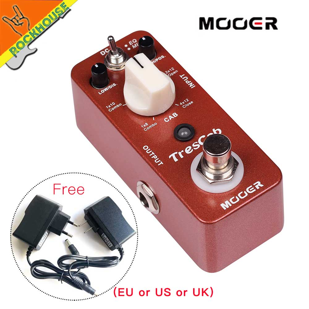 MOOER TresCab Guitar Cabinet Simulator Pedal Simulate 1x8''/1x10''/1x12''/2x12''/4x12'' Guitar Speaker True Bypass free shipping marshall mx412a 240w 4x12 angled cabinet