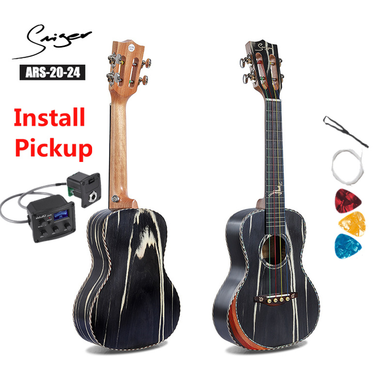 Ukulele 24 Inches Synthetic Cow Wood Mini Electric Concert Acoustic Guitar 4 Strings Ukelele Install Pickup Music Deer