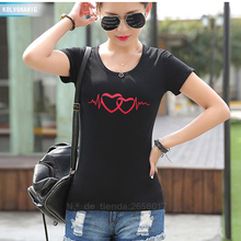 KOLVONANIG 2019  Summer New Fashion Heartbeat Love Printed T-Shirts Women Slim Short Sleeve Cotton T Shirt Ladies Harajuku Tops