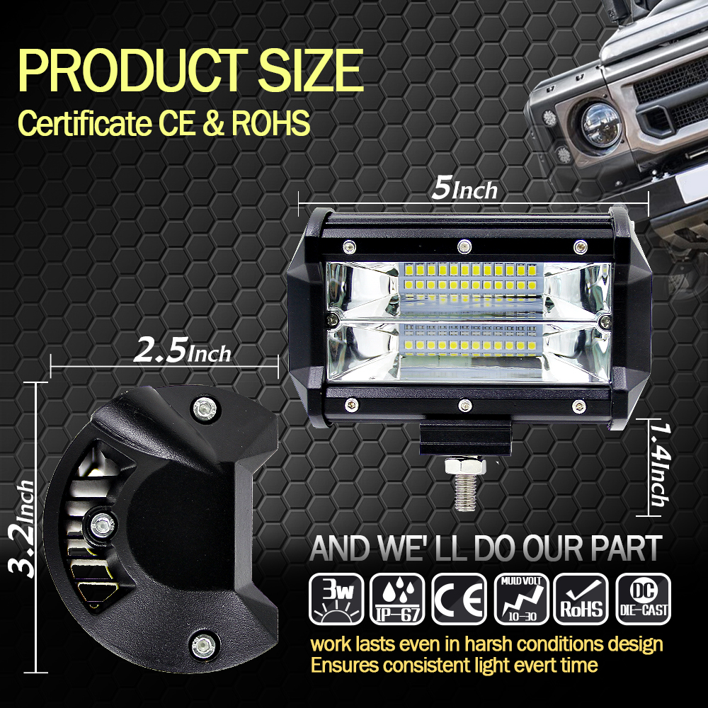 5'' Inch 72W LED Work Light Bar Flood Driving Lamp For Jeep Truck Boat Offroad (9)