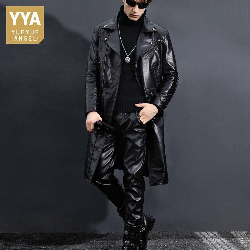Genuine Leather Trench Coat Men Slim Fit Black Motorcycle Jacket Winter New Windbreaker Cow Leather Long Jackets Plus Size 5XL