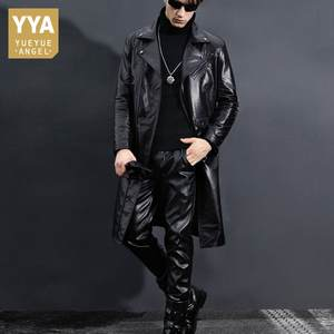 Motorcycle Jacket Winter Genuine-Leather Trench-Coat Plus-Size Men New Black 5XL Long