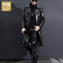 Skórzana trencz mężczyźni Slim Fit czarna kurtka motocyklowa zimowa nowa wiatrówka skóra bydlęca długie kurtki Plus rozmiar 5XL