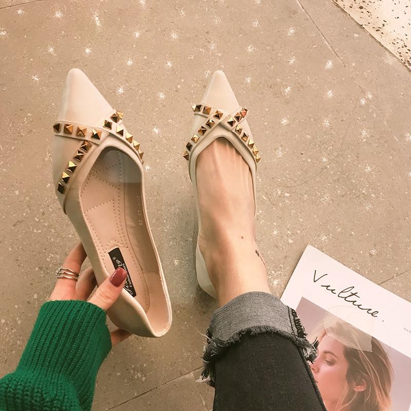 Designer Doux Femmes fonds Nouveau Plat Luxe Pointu Célibataires Bas Fond Confortable Chaussures De 7wfBAqf