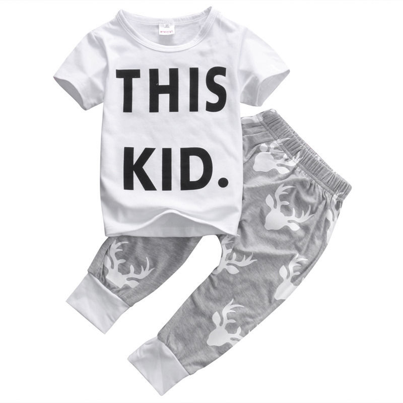 T-shirt Tops Short Sleeve Pants Outfits Boys Clothing Set 2pcs Infant Toddler Kids Baby Boy Girls Clothes Set 0-5T
