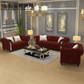 7 sitze Chesterfield-Burgund Tief Weinrot Luxus Europäischen Stil Neue Klassische Edelstahl Rahmen Stoff Sofa Sets W36S