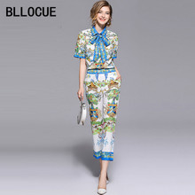 BLLOCUE 2018 Summer Designer Runway Suit 2 Piece Set Women's Long Sleeve Bow Shirt