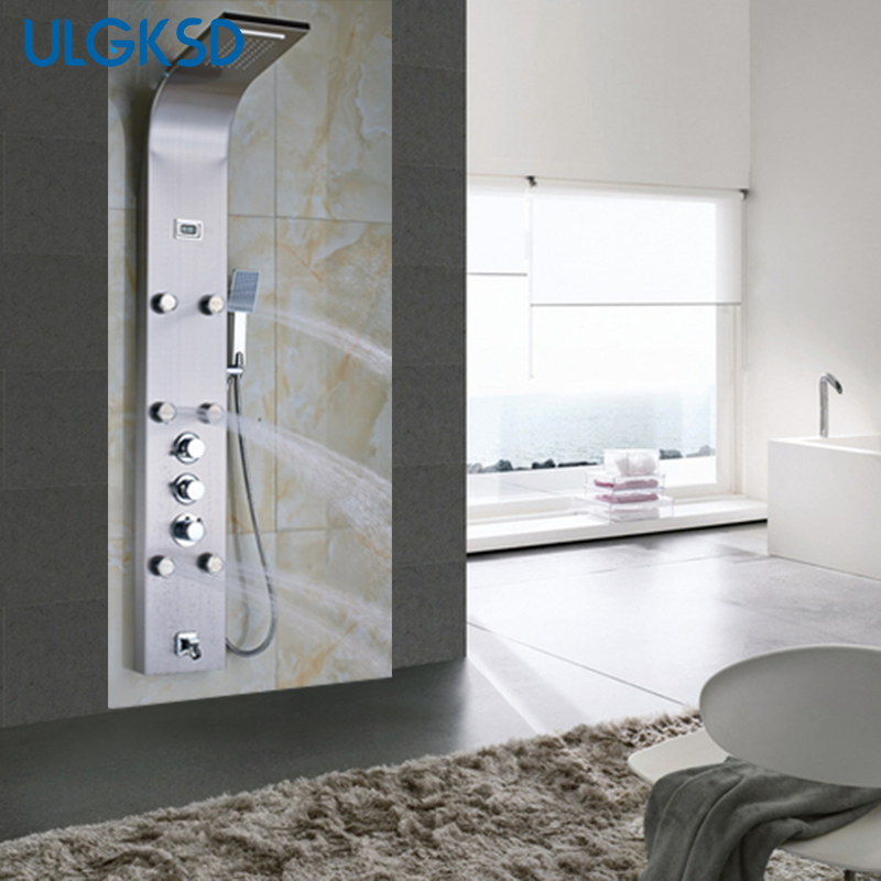 Ulgksd Thermostatic Shower Faucet Shower Column Digital Display 6ps Massage Jets Tub Faucet Filler Spout W/ Hand Shower Panel thermostatic valve mixer tap w hand shower tub spout tub faucet chrome finish