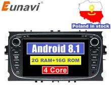 Eunavi 2 Din 7 «Android 8,1 DVD плеер автомобиля Радио онлайн карты gps навигации wi fi для Ford focus II Galaxy Transit Tourneo Mondeo