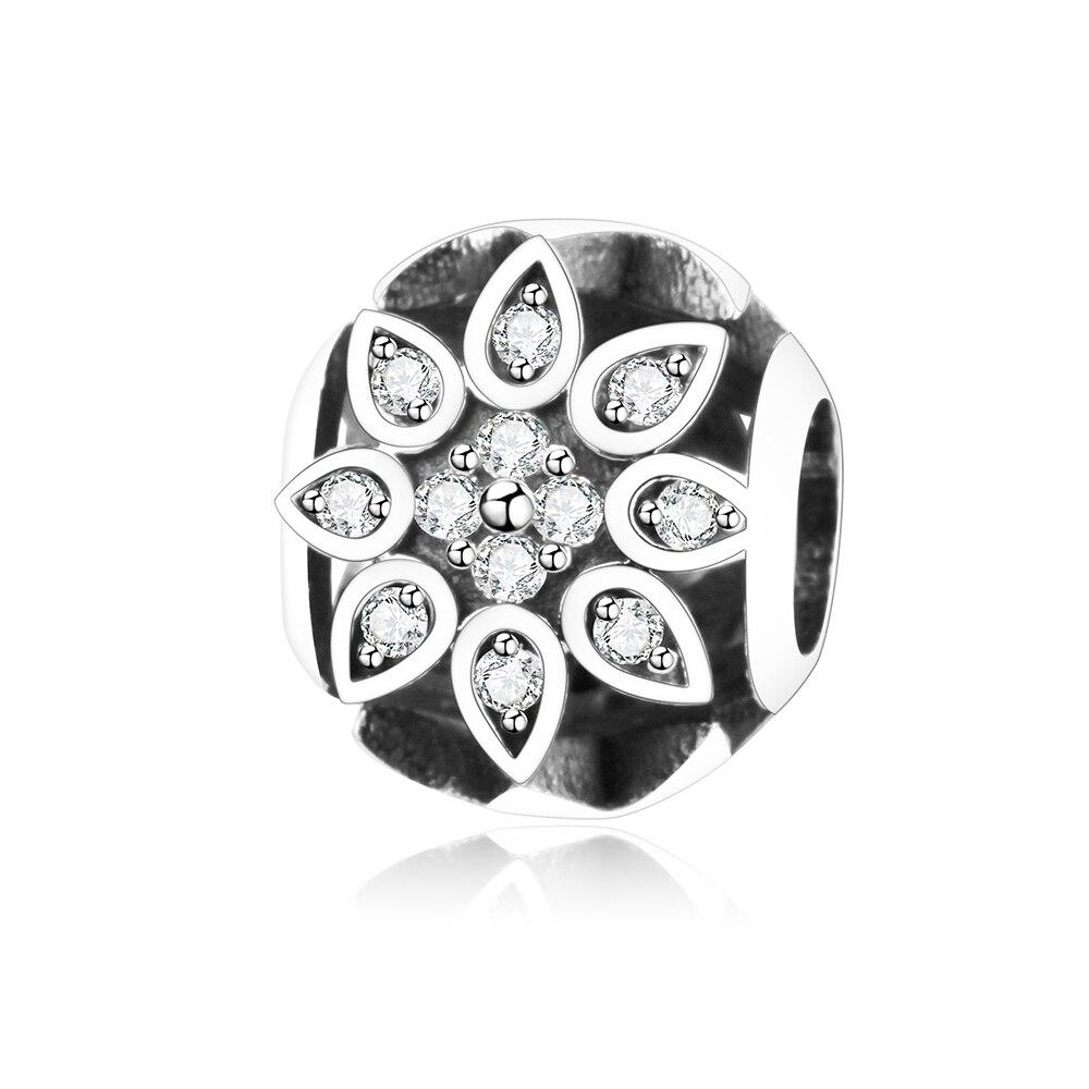 925 Sterling Silver Flower Openwork Ball Charm Fit Original Pandora Charm Bracelet Clear Zircon DIY Jewelry Making Bead Berloque