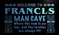 X0126 Tm Francis Man Cave Tiki Bar Custom Personalized Name Neon Sign Wholesale Dropshipping