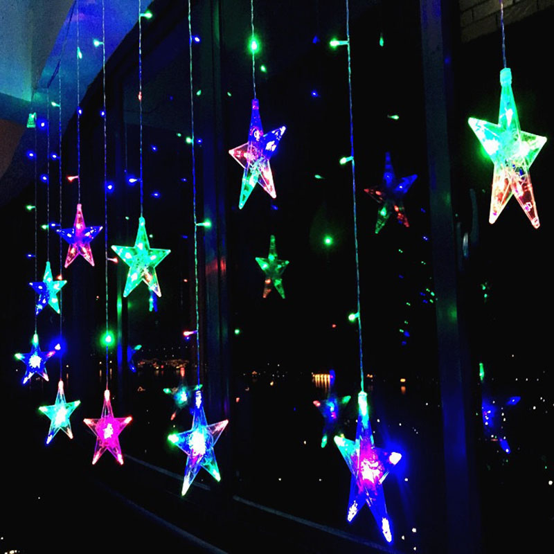 2M LED Star Light Christmas Curtain Light Holiday Light String Outdoor Waterproof Wedding, Garden, Room Decoration
