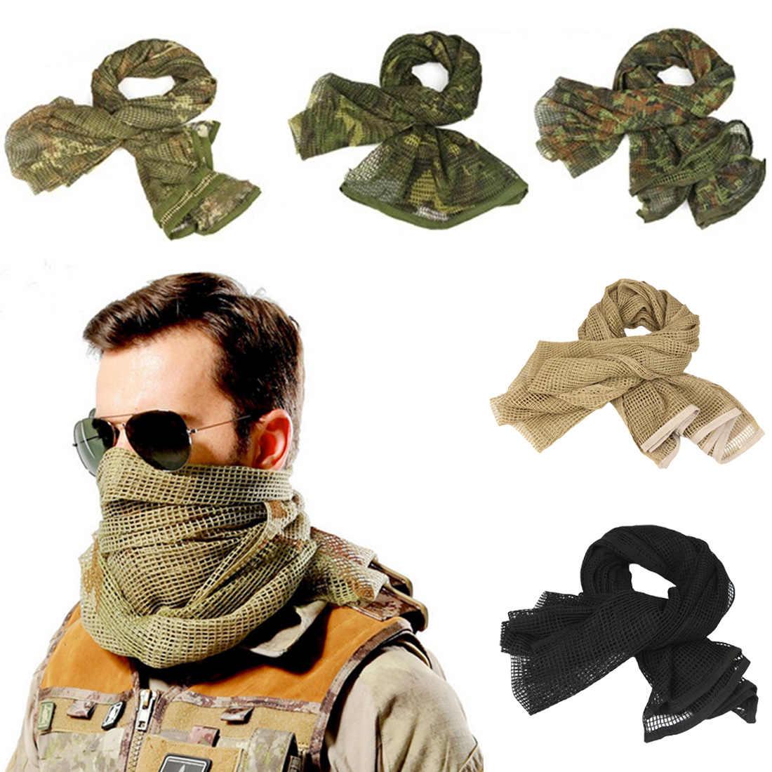 190*90cm coton militaire Camouflage tactique maille écharpe Sniper visage voile Camping chasse multi-usages randonnée écharpes