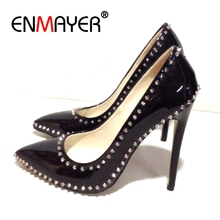 Enmayer  Thin Heels Pointed Toe Casual Slip-On Ladies Shoes Women High Zapatos Mujer Tacon Size 34-43 ZYL2326