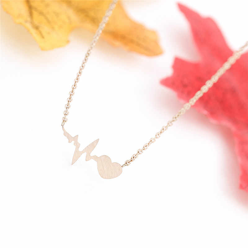 Delicate Zigzag Pendant Rose Gold Heart Beat Necklace Women Valentine's Day Gift Stainless Steel Chain Lovers Jewelry 2019
